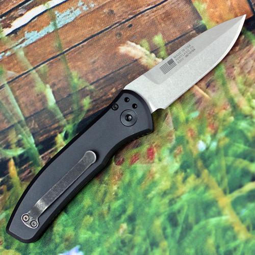 """Gerber Empower Auto 30-001323, 3.25"""" Stonewash CPM-S30V Plain Blade, Black Aluminum Handle"""
