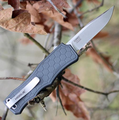 "Houge Exploit 34052 OTF, 3.5"" CPM S30V Clip Point Tumbled Blade, Matte Grey Aluminum Handle"
