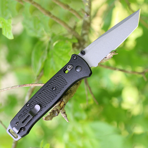 "Benchmade Bailout 537SGY, 3.38"" CPM-3V Part Serrated Tanto Blade, Black Grivory Handle"