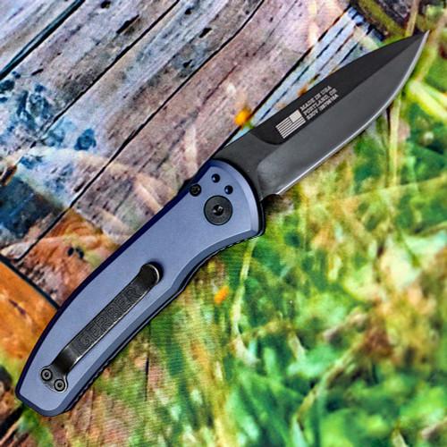 """Gerber Empower Auto 30-001319, 3.25"""" Black CPM-S30V  Plain Blade, Urban Blue Aluminum Handle"""
