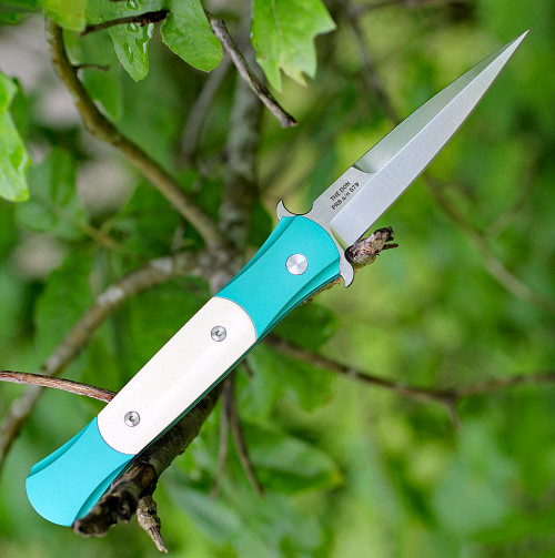 """ProTech The Don 1751-TEAL, 3.5"""" 154-CM Satin Blade, Teal Aluminum / Ivory Micarta Handle"""