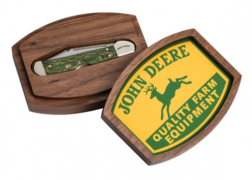 "Case Mini Copperlock John Deere Green 15765, 3 5/8"" Closed Length SS, Sycamore Wood Handle"