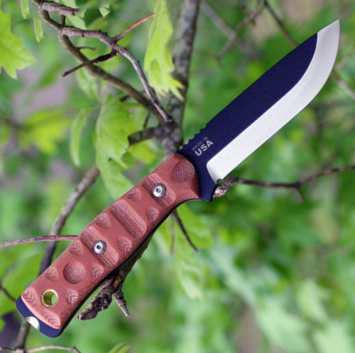 "TOPS BROS-01RMT B.O.B. Fieldcraft RMT, 4.75"" 1095 Plain Blade, Rocky Mountain Micarta Handle-Kydex Sheath"