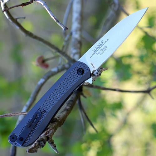 "CRKT K350KXP Slacker Linerlock, 3.324"" D2 Steel Plain Blade, Aluminum Handle"