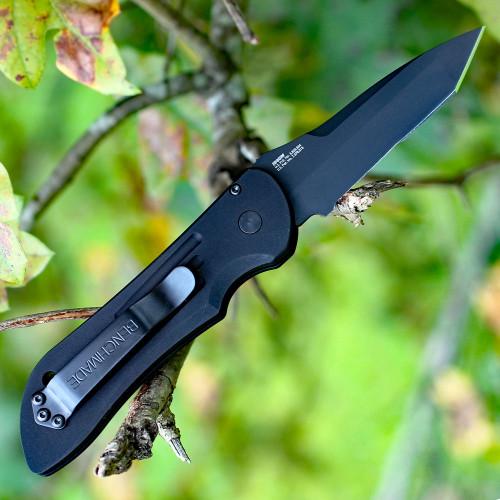Benchmade 9501SBK Mini Auto Stryker, 2.95 in. 154CM Black Tanto Combo Blade, Black Aluminum Handles