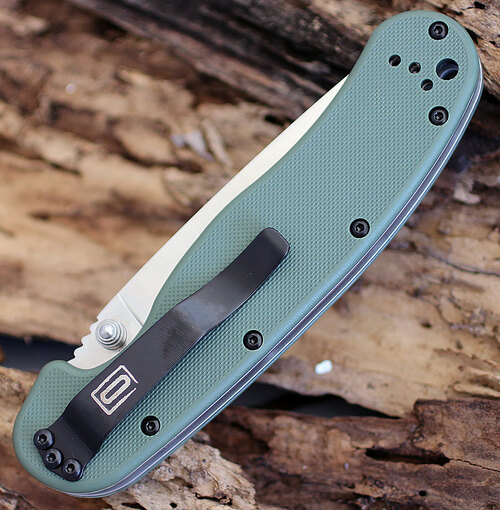 "Ontario RAT Model 1 Folder, 3.5"" D2 Blade Steel, OD Green Handle"