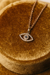 Diamond Evil Eye & Sapphire in Yellow Gold Necklace