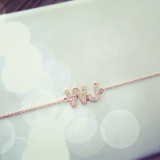 Diamond Letter Monogram Necklace - Two Letters