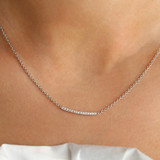 Diamond Bar Necklace set in White Gold