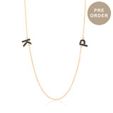 Black Diamond Letter Monogram Necklace - Three Letters