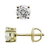 Diamond Stud Earrings 1.00 carat Yellow Gold 14k