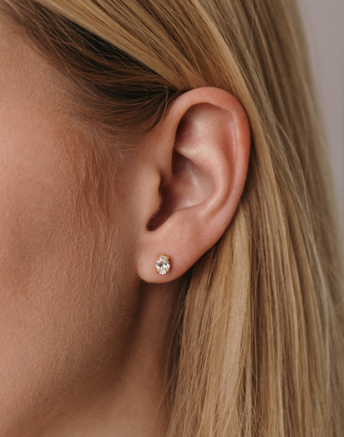 Cecille Oval Lab Diamond Stud Earrings - 18 Yellow Gold