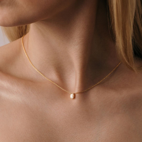 Lucille Oval Necklace - .30 carat Lab Diamond Pendant Necklace 18ct Yellow Gold