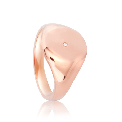 Chelsea Rose Gold Signet Ring with Diamond