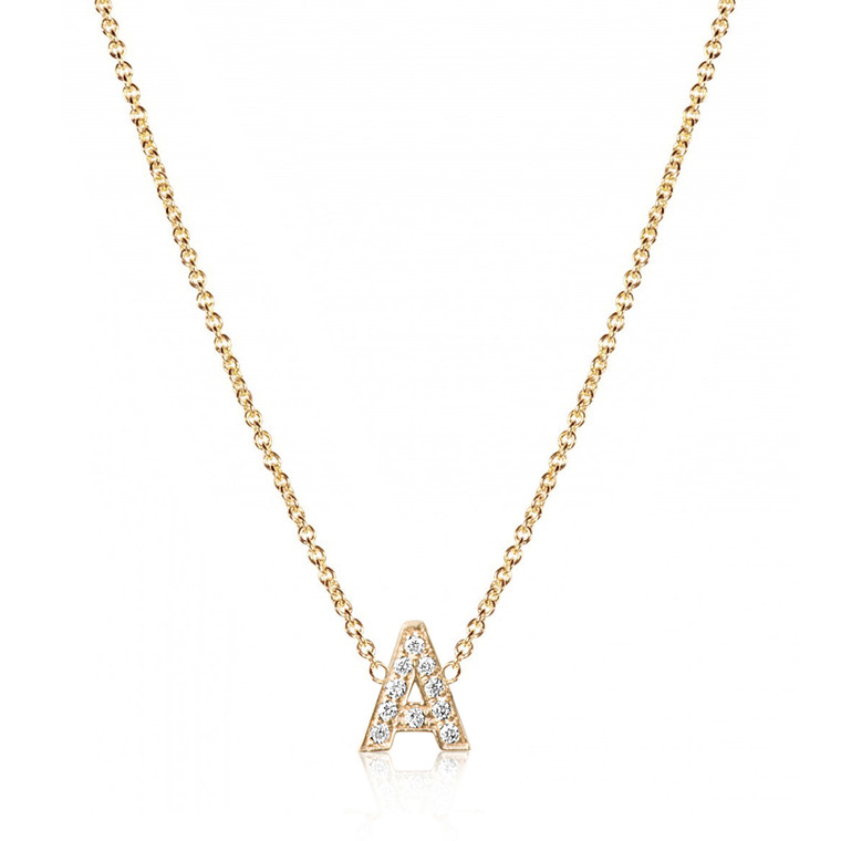 Diamond Letter Monogram Yellow Gold Necklace