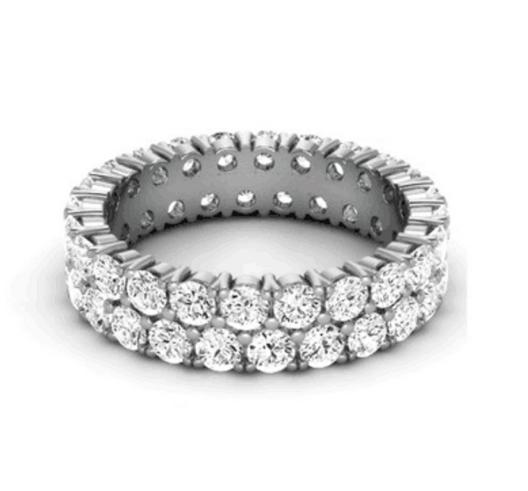 Diamond Duo Eternity Claw Set Wedding Band