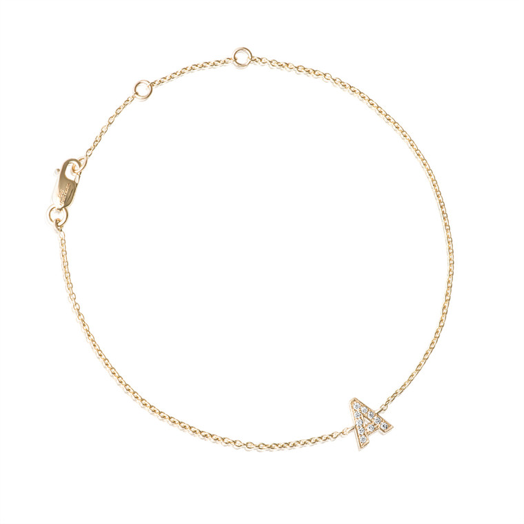 Diamond Letter Monogram Bracelet Yellow Gold