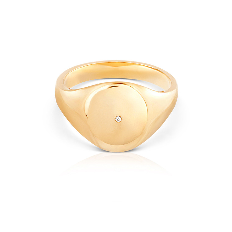 Chelsea Yellow Gold Signet Ring with Diamond