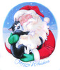 Tuxy Cat and Santa share a warm hug in this happy holiday design.