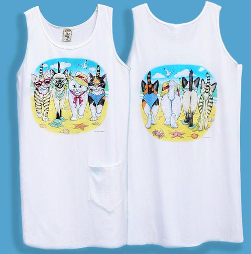 BEACH KITTENS DRESS WHITE ONE SIZE