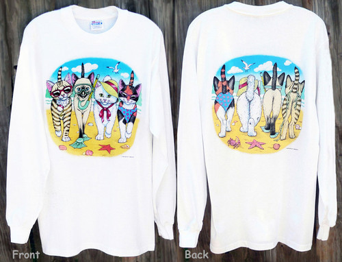 BEACH KITTENS LONG SLEEVE T-SHIRT WHITE