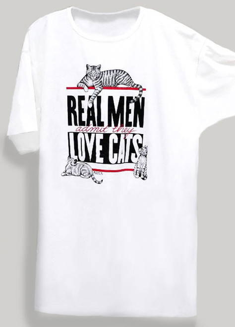 REAL MEN CAT NIGHTSHIRT WHITE ONE SIZE