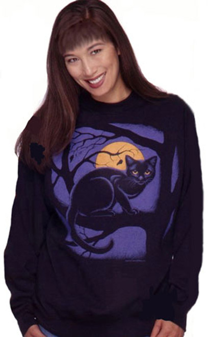 MIDNIGHT MEOW CAT SWEATSHIRT BLACK