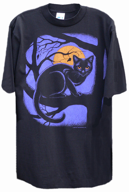 MIDNIGHT MEOW CAT T-SHIRT BLACK
