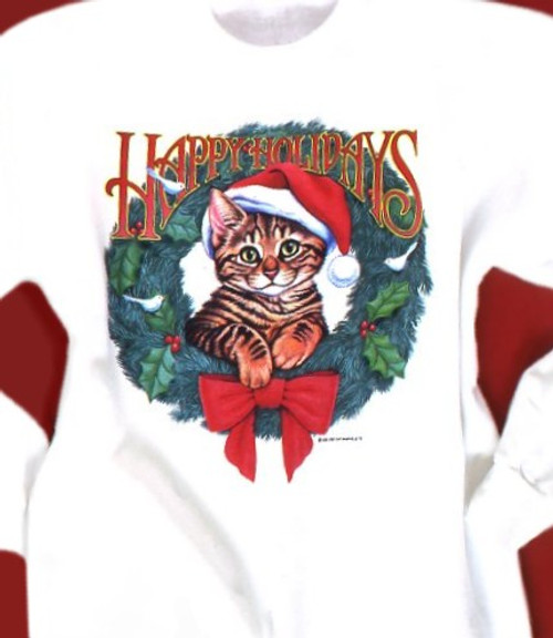 HAPPY HOLIDAYS CAT SWEATSHIRT WHITE