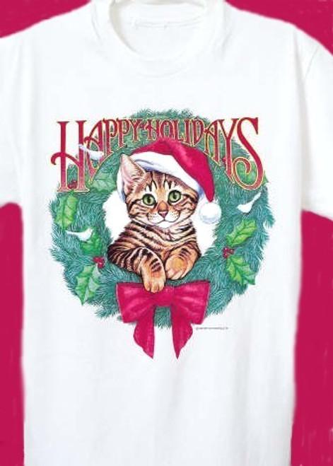 HAPPY HOLIDAYS CAT T-SHIRT WHITE
