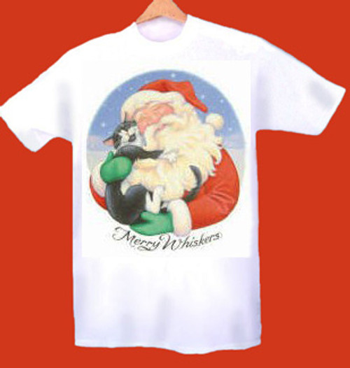 MERRY WHISKERS CAT T-SHIRT WHITE