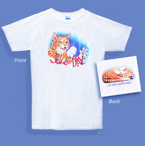 SEIZE THE DAY CAT NIGHTSHIRT WHITE OS