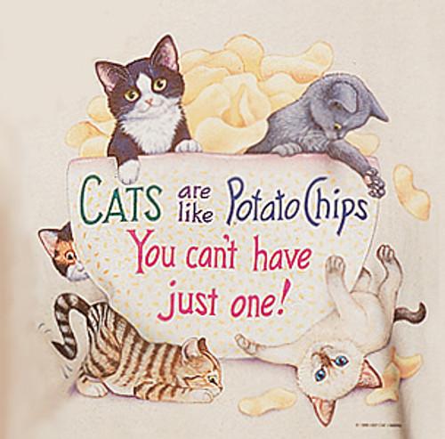 POTATO CHIP LADIES CAT T-SHIRT NATURAL