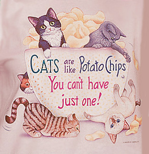 POTATO CHIP LADIES CAT T-SHIRT PINK
