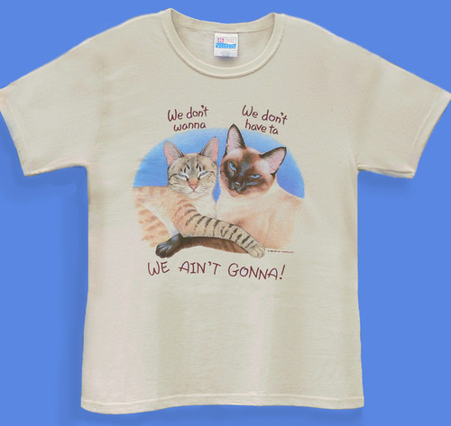WE AINT GONNA LADIES CAT T-SHIRT NATURAL