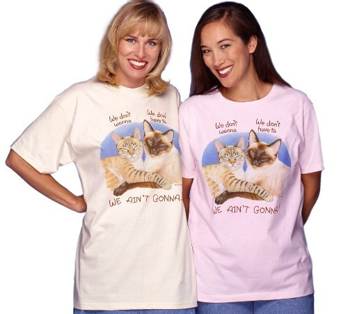 WE AINT GONNA LADIES CAT T-SHIRT PINK