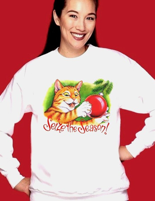 SEIZE THE SEASON CAT SWEATSHIRT WHITE