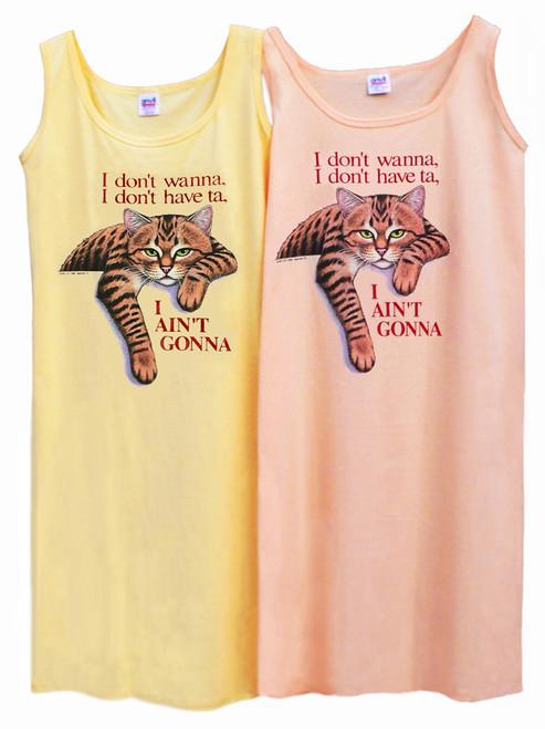 AINT GONNA TABBY CAT TANK DRESS OS