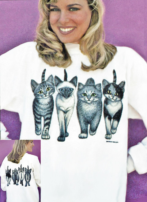 KITTENS COMING AND GOING SWEATSHIRT WHITE