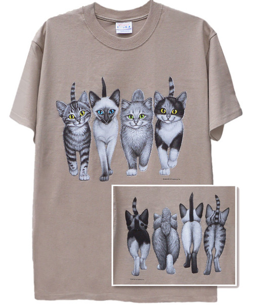 KITTENS COMING AND GOING T-SHIRT TAN