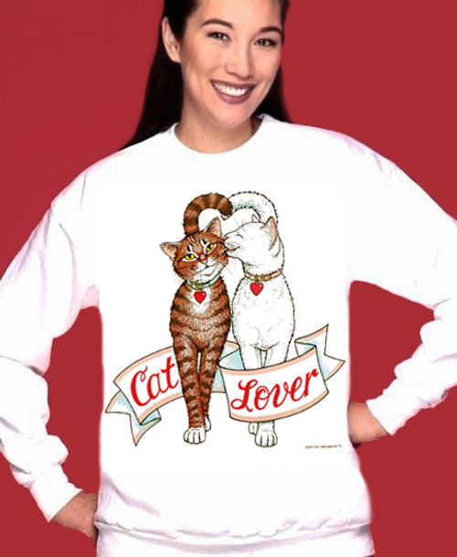 CAT LOVER SWEATSHIRT WHITE