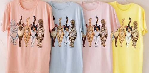 CATS COMING AND GOING DELUXE LADIES T-SHIRT PEACH