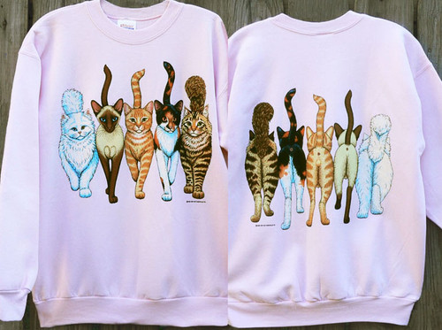 CATS COMING AND GOING DELUXE SWEATSHIRT PINK
