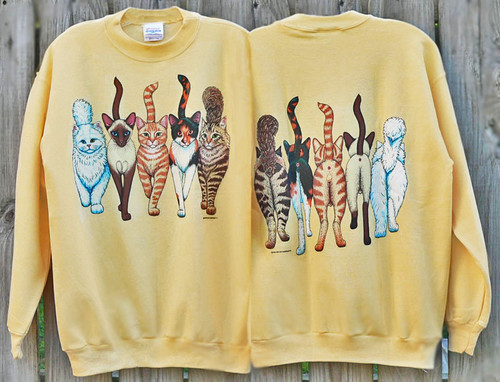 CATS COMING AND GOING DELUXE SWEATSHIRT YELLOW