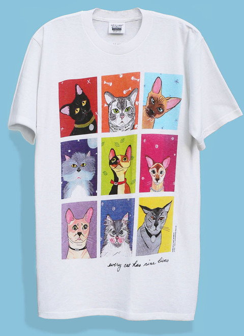 Nine (one for each life) boldly colored, artsy cats are loaded with catitude!