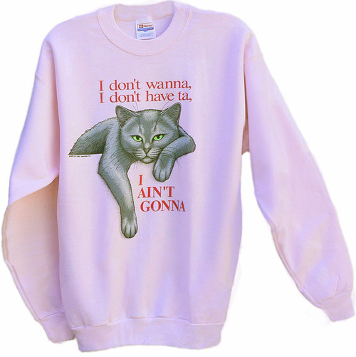 AINT GONNA GREY CAT SWEATSHIRT PINK