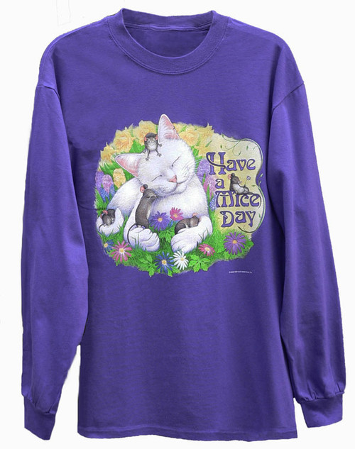 MICE DAY LONG SLEEVE CAT T-SHIRT PURPLE