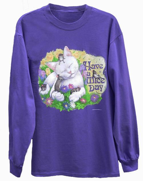 MICE DAY LONG SLEEVE CAT T-SHIRT PURPLE