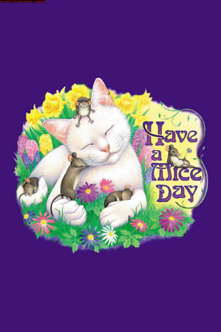 MICE DAY CAT T-SHIRT PURPLE