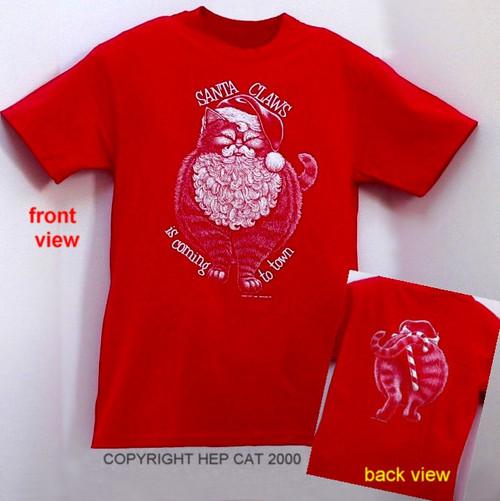 SANTA CLAWS CAT T-SHIRT RED